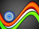 Indická vlajka barva pozadí tvůrčí vlna s 3d ašoka kolo. — Stock vektor