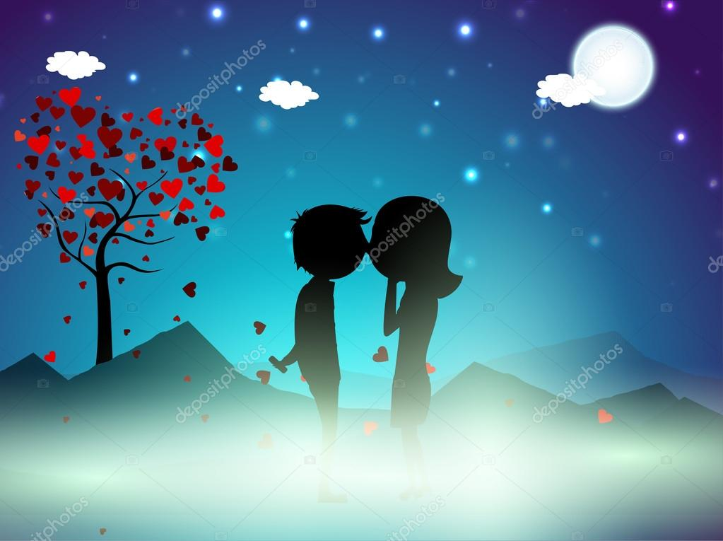 Valentines Day winter night background with love tree and cute couples silhouette. EPS 10.  Stock Vector #18780313