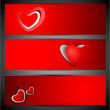 Love website header or banner set with red hearts on red backgro — Stock Vector