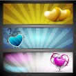 Love website header or banner set with yellow, sky blue and pink — Stock Vector #18874327
