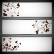 Love website header or banner set with hearts floral on grey bac — Stock Vector