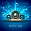 Abstract musical flyer with speakers on blue background. EPS 10. - Stock Vector