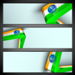 India Nation Flag waving design in website headers or banners se — Vektorgrafik