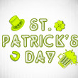 St. Patrick's Day background with leprechaun hat, clover leaf. b — Stock Vector