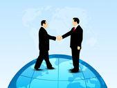 Abstract businessman handshake over globe, business deal backgro — Stock Vector