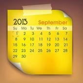 September month calender 2013. EPS 10. — Stock Vector