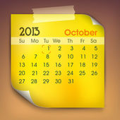 October month calender 2013. EPS 10. — Stockvektor