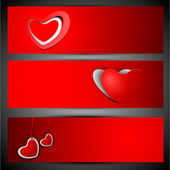 Encabezado de página web o banner prendió con corazones rojos rojo centrico — Vector de stock