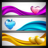 Love website header or banner set with pink, yellow and sky blue — Stock Vector