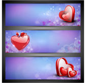 Love website header or banner set with red hearts on purple. EPS — Stockvektor