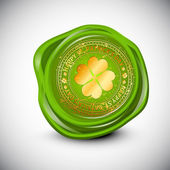 Wax seal for St. Patrick's Day with golden clover leaf. EPS 10. — Stock vektor