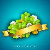 Fond de chanceux trèfle quatre feuilles irlandais pour Happy St. Patrick s — Vecteur