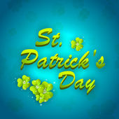 St. Patrick's Day greeting card with clover leafs on blue backgr — Stock Vector