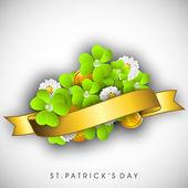 Irish four leaf lucky clovers background for Happy St. Patrick's — Stockvektor