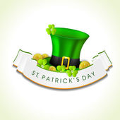 St. Patrick's Day greeting card or background with Leprechaun ha — Vector de stock