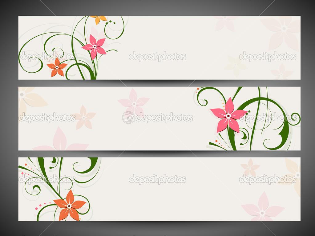 Encabezado de p gina web decoraci n floral y banner set eps 10 vector de stock - Paginas web de decoracion ...