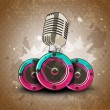 Retro musical background with microphone and speakers. EPS 10. - Stock Vector