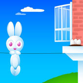 Happy Easter background with hanging Easter bunny, — Stock Vector