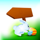 Happy Easter background with little rabbit, painted eggs and woo — Stockvector