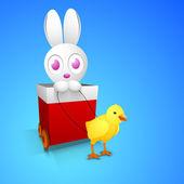 Felice pasqua sfondo con coniglietto carino in rosso regalo carrello e illuminato — Vettoriale Stock