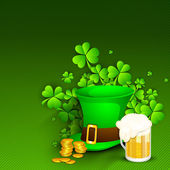 Saint Patrick's Day background or greeting card with Leprechaun — Stock Vector