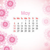 Floral decorated, May month calender 2013. EPS 10. — Stock Vector