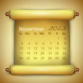 Mese di novembre calendario 2013. eps 10. — Vettoriale Stock