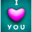 Saint Valentine's Day background, greeting card or gift card with text I LOVE YOU having pink heart on grungy green background. EPS 10.  — Stock vektor