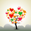 Valentines Day background with love tree. — Stock vektor