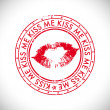 Valentines Day rubber stamp with text kiss me. - Vettoriali Stock 