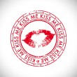Valentines Day rubber stamp with text kiss me. - 