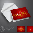 Happy Valentine's Day greeting card, love card or gift card in r — Cтоковый вектор