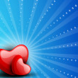Happy Valentine's Day background with glossy red hearts on blue  — Stok Vektör