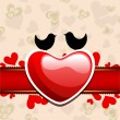 Valentine's Day love card or greeting card with cute love birds. — Imagens vectoriais em stock