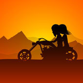 Happy Valentines Day love background with young couples riding o — Vector de stock