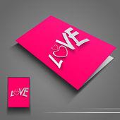 San valentino volantino o banner con amore testo su sfondo rosa. eps 10. — Vettoriale Stock