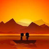 Happy Valentines Day love evening background with silhouette of — 图库矢量图片
