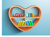 Wooden heart shape bookshelf having books and text LOVE on blue, Saint Valentines Day love background. EPS 10. — Stock Vector