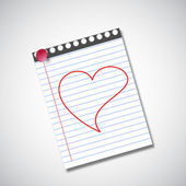 Happy Valentines Day background heart drawn on note book. — 图库矢量图片