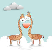 Vector illustration of giraffe couple in love on seamless nature — Stock Vector