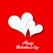 Happy Valentines Day paper hearts on red background. — Stock Vector