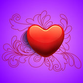 Happy Valentines Day background with glossy red heart on floral — 图库矢量图片