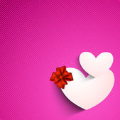 Valentines Day background with sticky, label or tag in heart sha — Stock vektor