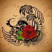 Vintage love background with rose. — Wektor stockowy
