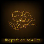 Happy Valentines Day background, gift car or greeting card with — Stock Vector