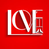 Love text on red background for Valentines Day. — Stock Vector