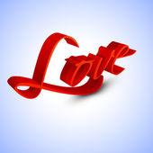 3D текст любовь в красный цвет на фиолетовый фон для Валентина Da — Cтоковый вектор