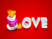 Glossy colorful hearts make text Love on red background for Vale — Stock Vector