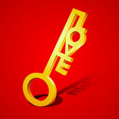 Golden love key on red background for Valentines Day.. — Stock Vector