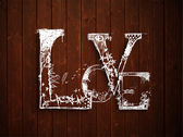Love text on grungy brown background for Valentines Day.. — Stock Vector